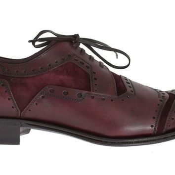 Dolce & Gabbana Bordeaux Leather Derby Wingtip Shoes