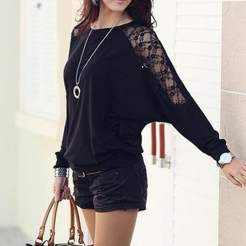Black Chiffon Women Fashion Long Sleeve Round Collar Korean Style Batwing T-Shirt S/M/L/XL FLC3073-8021-15-Black-403-3 = 1946366724