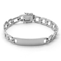 Men's Silver Color ID Curb Bracelet
