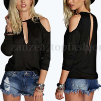 Women Off Shoulder Open Back Backless Summer Casual Loose Blouse Tops Tee Shirt