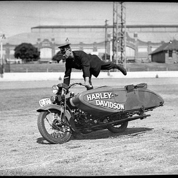Harley Davidson Sidecar Motorcycle -Police Stunt Shown c.1930s - : Old Antique Vintage Photograph Photo Print *Reproduction*
