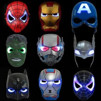 LED Glowing Super Hero Mask The Avengers Spiderman Captain America Iron Man Hulk Batman Party Cosplay Halloween Mask Toy