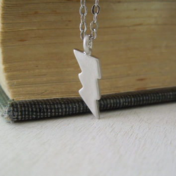 Lightning Bolt Necklace - Tiny Silver Lightning Bolt Charm Necklace Delicate Silver Chain