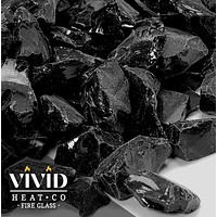 """VIVID Heat - Vibrant Luster """"Onyx Black"""" 1/2"""" - 3/4"""" Large Rough Gem Size, (Price by the Pound) - Tempered Fire Glass Rock for Fireplace and Fire Pit"""