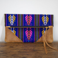 FROM MEXICO with LOVE - Small Royal Blue Mexican Woven Fabric Clutch with Distressed Leather Corner Detail