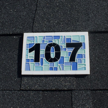 Outdoor Mosaic House Number Sign in Shades of Blues