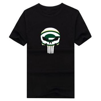 2018 New 100% Cotton green bay Punisher T-shirt funny packers fans skull T Shirt 0119-1