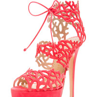 Charlotte Olympia | Goodness Gracious Reef Suede Heels in Coral www.FORWARDbyelysewalker.com