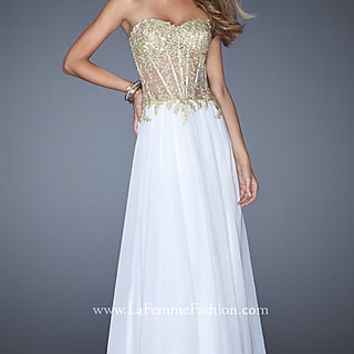 Sheer Corset Prom Gown by La Femme
