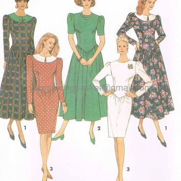 Vintage Dress Pattern, Vintage Dresses, Padded Shoulders and Full Skirt, Uncut Simplicity 8537 Pattern, Princess Seams