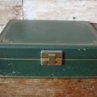 Vintage Womens Jewelry Box Green an Pink  From 50s or 60s Unique