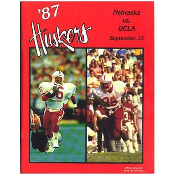 Vintage Nebraska Football Program, September 12, 1987 Huskers vs. UCLA Bruins California Football Program Sports Memorabilia