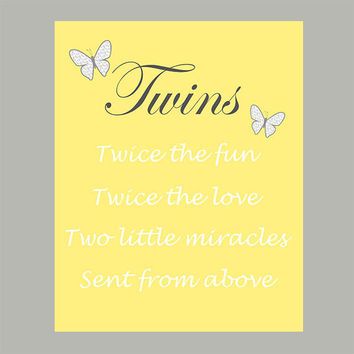 Nursery Quote Wall Print, Baby Twins Quote, Girl Boy Quote Gray Yellow Decor CUSTOMIZE YOUR COLORS 8x10 Prints Nursery Decor Print Art Baby