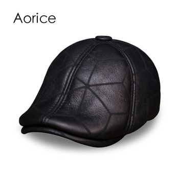 HL113 real leather baseball cap hat winter warm Russian old men beret  newsboy ear Flap caps hats with real wool fur inside