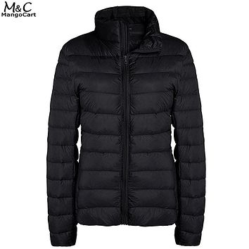 Winter Thin Down Coat Women Jacket 2017 Casual Womens Down Jackets Light Weight Stand Collar Zipper Puffer Down Coats Outwear