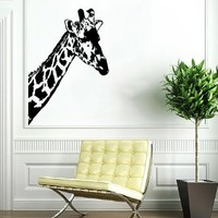 Giraffe African Animal Wall Vinyl Decals Sticker Home Interior Decor for Any Room Housewares Mural Design Graphic Bedroom Wall Decal (5343)
