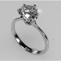 Temila Round Cut Solitaire Engagement Ring |  2 Carat | Sterling Silver | Cubic Zirconia