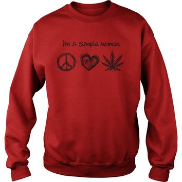 I'm simple woman love Hippie, heart and weed shirt Sweatshirt Unisex