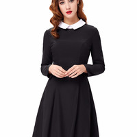 Womens Sexy Elegant Winter Fashion Women Stylish Slim Fit Long Sleeve Contrast Color Doll Collar A-Line Dress Bodycon Dress