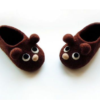 Felted adult size slippers Teddies