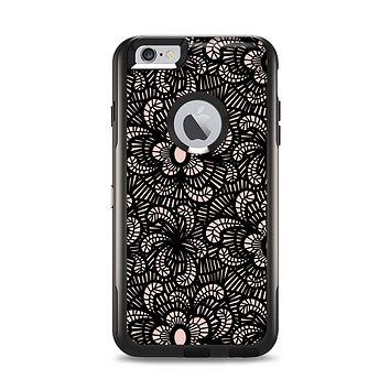 The Black Floral Lace Apple iPhone 6 Plus Otterbox Commuter Case Skin Set