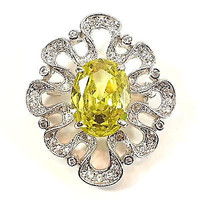 Lemon Yellow Pave Brooch Oval Cubic Zirconia Silver Tone White Pin p506s