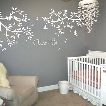 Personalized Name Large Tree Branches Wall Stickers Flying Birds White Tree Wall Decal Baby Nursery Wall Tattoo Mural JW211A