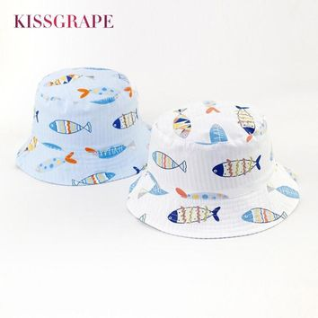 New 2018 Spring Baby Boys Butcket Hats AB Side 100% Cotton Sunhats for Baby Girls Kids Children's Outdoor Cute Cartoon Fish Cap