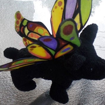 Doll size fairy wings in orange yellow purple brown black and light green for dolls or stuffed animals