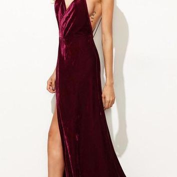 Burgundy Velvet Elegant Maxi Backless Dress