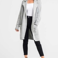 LUSH - long sweater cardigan coat - heather grey