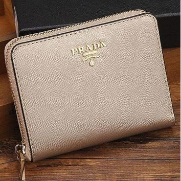 Prada Fashion Women Metal Leather Zipper Wallet Purse I