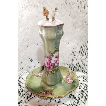 Hand Painted Pink Roses on Mint Green Porcelain Hat Pin Holder by artist Betty Platner - Limited Supply!