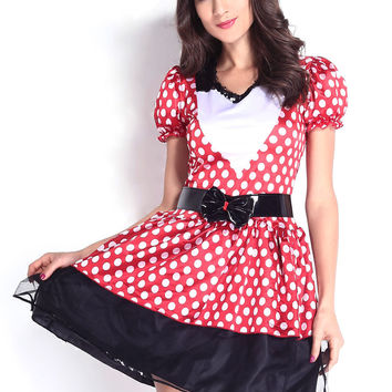 Red Polka Dot Puffed Sleeve with Ribbon Waist Belt Skater Dress Minni Mouse Costume