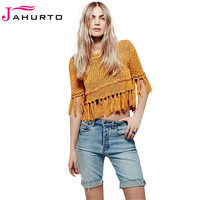 Jahurto Tassel Knitted Sweater Autumn Winter  Solid Sexy Crewneck Pullover Short Hollow Out Backless Women Clothing
