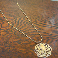 Vintage Praying Child Necklace, Gold Tone, Costume Necklace