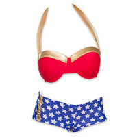 Wonder Woman Underwire Bikini Top and Shorts | TeesForAll.com