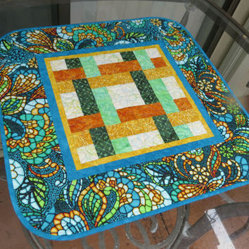 Table Topper Quilted Art Glass Turquoise 617