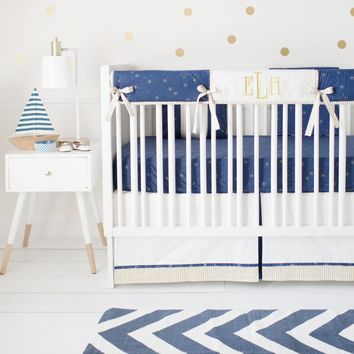 Lucky Stars in Navy Crib Baby Bedding Set
