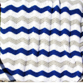 Grey Blue Chevron Baby Blanket, Chevron Crochet Baby Blanket, Chevron Blanket, Chevron Crochet Blankets, Chevron Afghan Dallas Cowboys