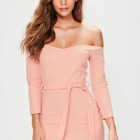 Missguided - Pink Long sleeve Wrap Front Tie Waist Mini Dress