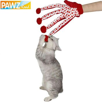 Pet Toy Cat Lovely Toy Ball Funny Puppy Toy Cute Polka Dot Scratch Glove Toy Red/Green/Blue Color Play with Kitten Toys