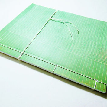 Large Notebook | Stab Bound Journal | Dotted Pages | Writing Journal | Vintage-Style Green Notebook | Unique Gift for Writer | Handmade Book