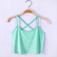 sexy women strap tank crop tops cotton sleeveless short vest camis 2015 summer new 6 candy color = 1958346180