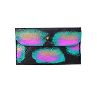 Black Leather Wallet with Pink, Gold and Mint Painted Abstract Art Pattern, Card Holder, Coin Purse   Boo and Boo Factory - Handmade Leather Jewelry