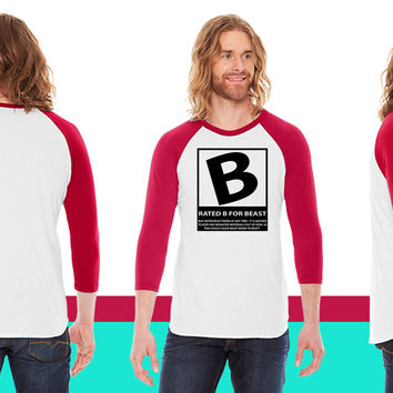 Rated B For Beast American Apparel Unisex 3/4 Sleeve T-Shirt