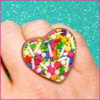 Sprinkle Heart Resin Ring by Fashioncandy on Zibbet