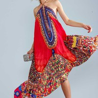 Parides Heritage Three Way Convertible Silk Blend Maxi Dress