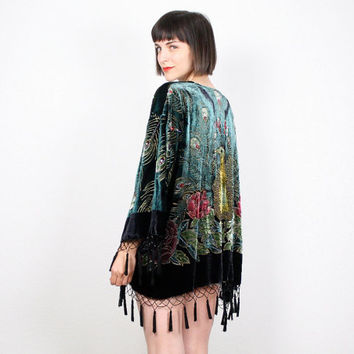 Vintage Velvet Kimono Jacket Sequin Beaded Fringe Tassel Trim Boho Peacock Print Duster Jacket Draped Gypsy Robe M Medium L Extra Large XL