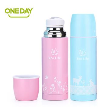 350ML Thermos Cup Cartoon Deer Stainless Steel Thermo Mug Insulated Thermos Coffee Mug Bottle Auto Car Heat Mug Vacuum Thermocup